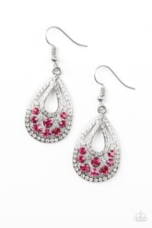 pink with white rhinestone earring